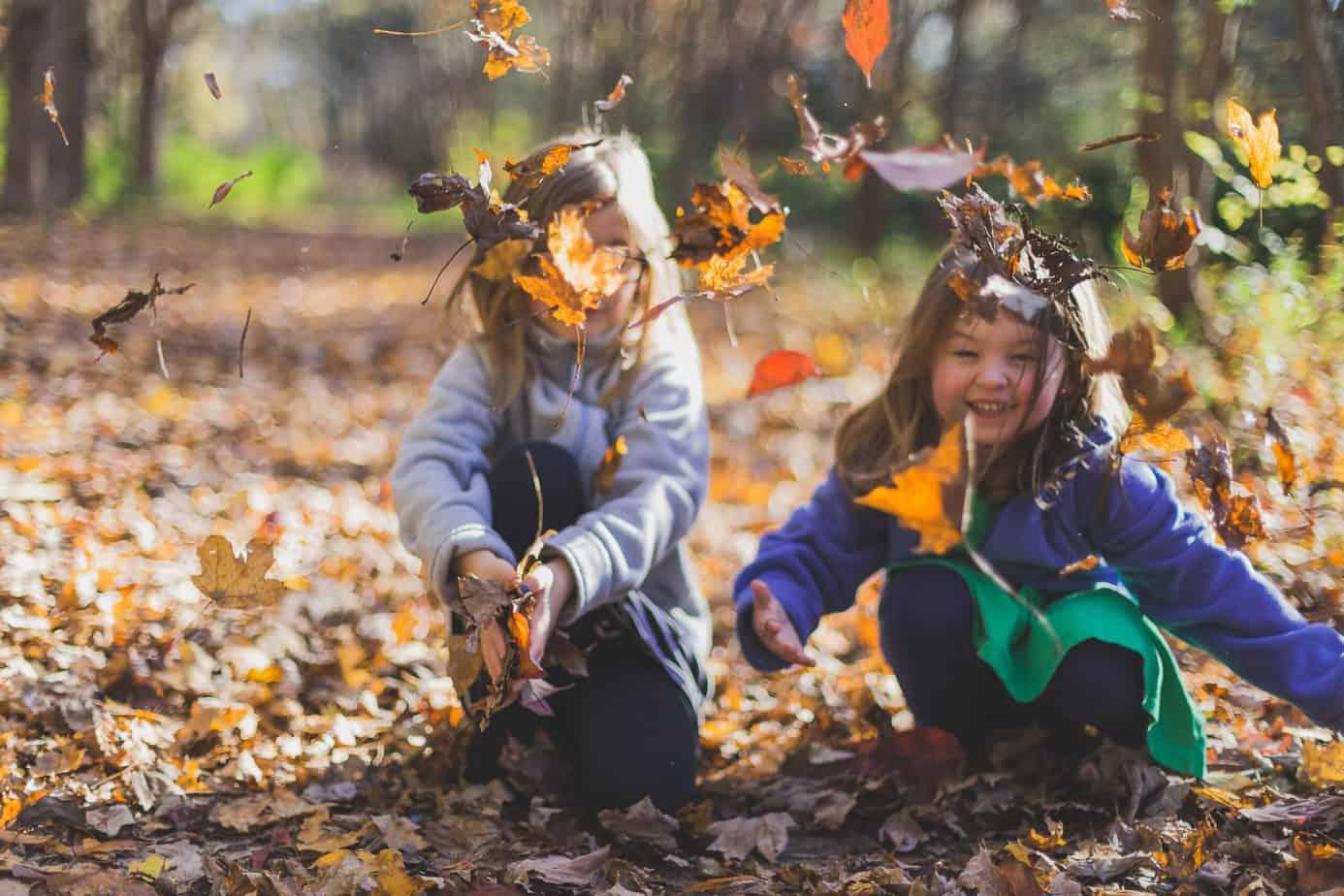 Kinderen spelen met herfstbladeren