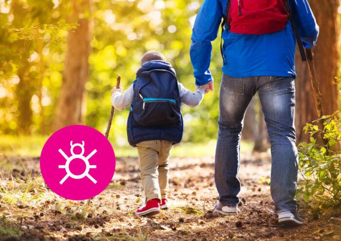 Vader en zoon wandelen in het bos